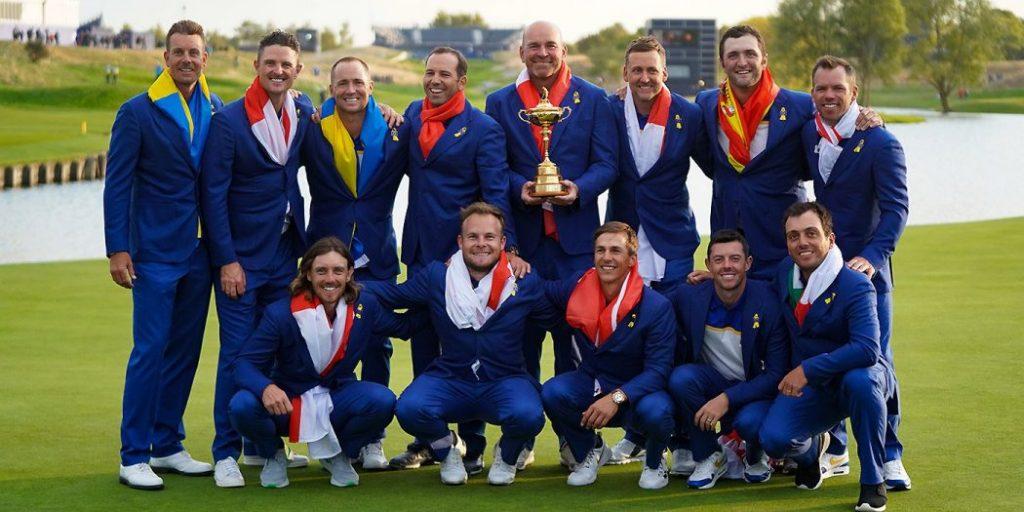 El equipo Europeo de la Ryder Cup 2018 celebrando la victoria